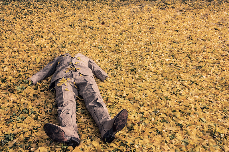 Man Fall on Leaves ,